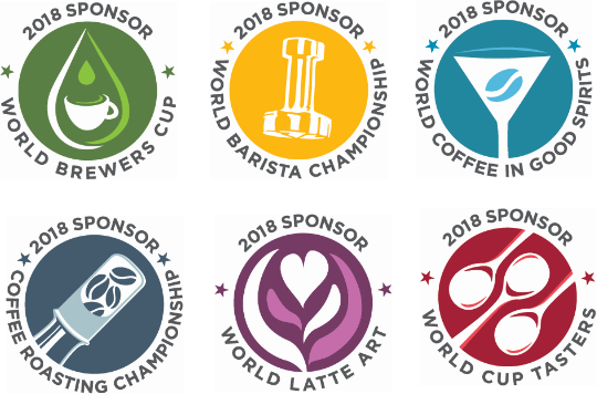 2018 SPONSOR: WORLD BREWERS CUP, WORLD BARISTA CHAMPIONSHIP, WORLD COFFEE IN GOOD SPIRITS, COFFEE ROASTING CHAMPIONSHIP, WORLD LATTE ART, WORLD CUP TASTERS